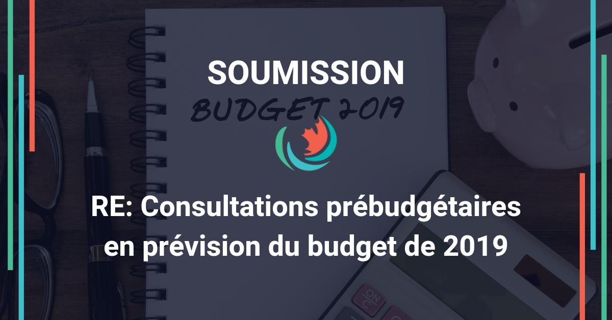 Soumission pour les consultations précédant le budget de 2019