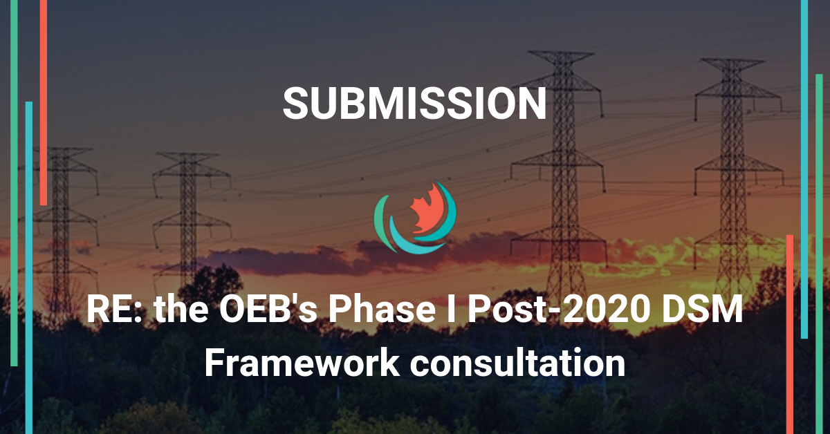 Efficiency Canada's joint submission to the OEB's Phase I Post-2020 DSM Framework consultation
