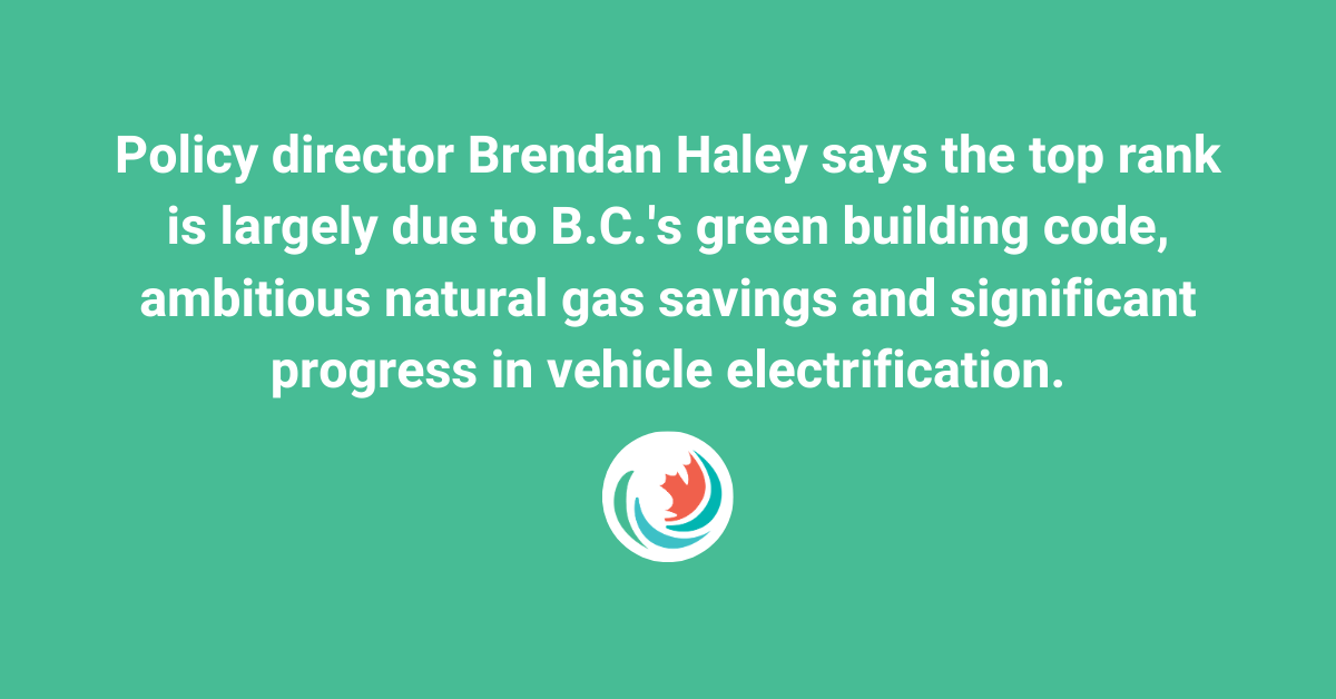 CTV News: B.C. given top marks by advocacy group for energy efficiency