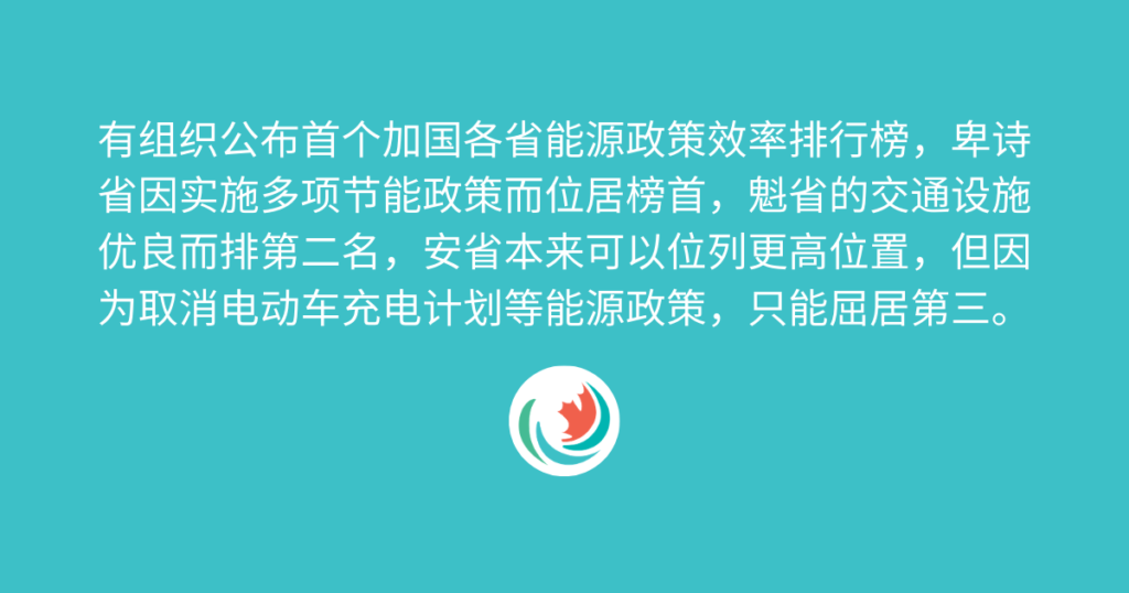 Sing Tao Daily: 能源政策效率排行榜 卑诗夺魁安省仅第三