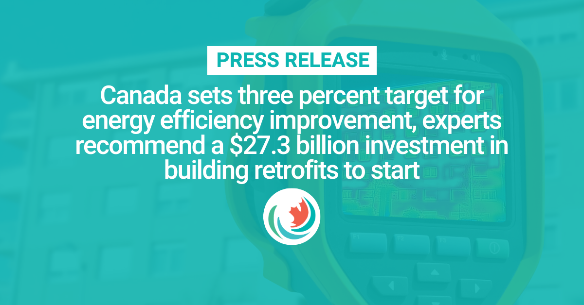 Canada sets three percent target for energy efficiency improvement, experts recommend a $27.3 billion investment in building retrofits to start