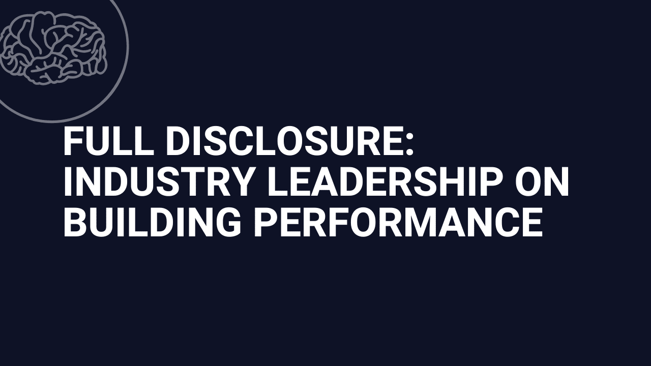 Full disclosure — Industry leadership on building performance